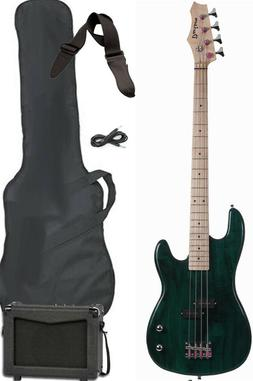 FULL SIZE Green Electric Bass Guitar Package with Amp Strap