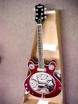 NEW HIGH APPLE RED ACOUSTIC RESONATOR GUITAR