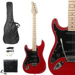 New ST Burning Fire Electric Guitar with Black Fender 20W AM